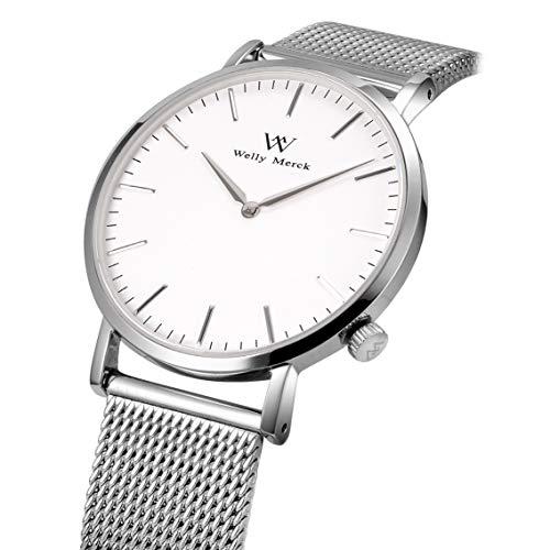(WM WELLY MERCK Man Watch,Swiss Quartz Analog,with Silver Milanese Mesh Band,42MM White Dial,Sapphire Glass)