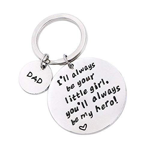 Father's Day Birthday Christmas Personalized Keychain Gifts for Dad Father from Daughter, I'll Always Be Your Little Girl, Valentines Day Gift for Papa (Your Little Girl)]()