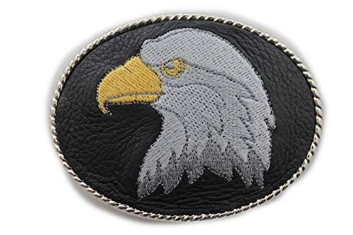 TFJ Men Women Belt Buckle American Western Fashion Silver Metal Eagle Head Black Leather