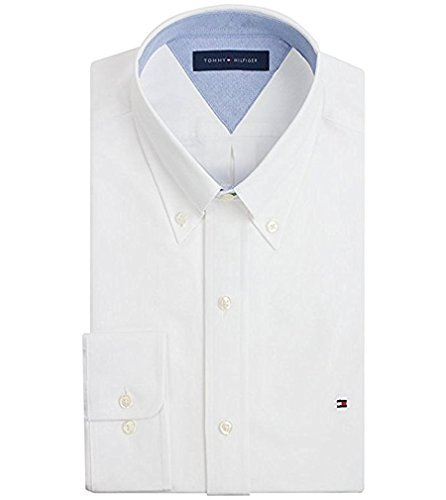 Tommy Hilfiger Men's Heritage Oxford Slim Fit Dress Shirt, White, 15.5, 34/35