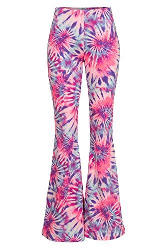 Fashionomics Womens Boho Comfy Stretchy Bell Bottom Flare Pants (S, Pink Aqua) -
