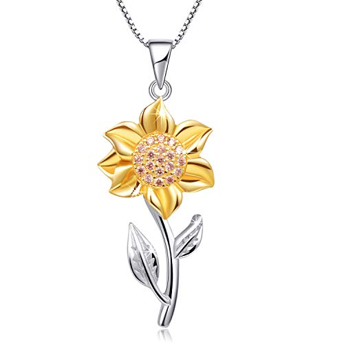 Annie & Kevin 925 Sterling Silver Sunflower Necklaces Yellow Gold Plated CZ Flower Pendant with Jewelry Gift Box for Women Girls