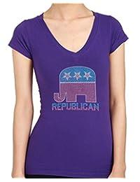 Republican Elephant Rhinestone/stud Womens T-Shirts