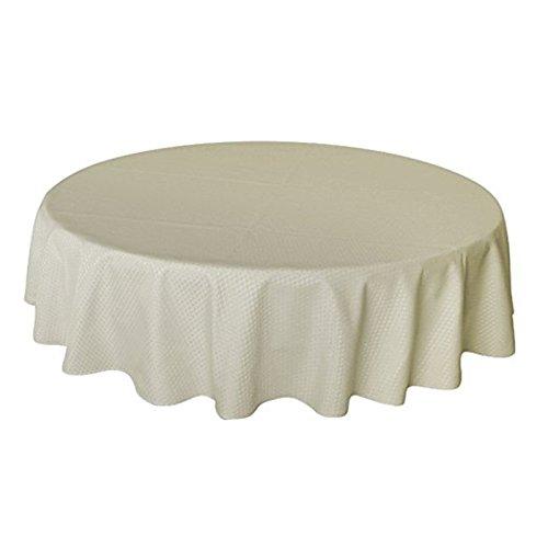 UFRIDAY Plaid Beige Tablecloth Round 70 Inch, Modern Waffle