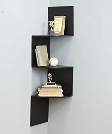 Amazon Com Black Wall Corner Shelf Unit Home Kitchen