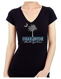 Charleston Design Rhinestone/stud Womens T-Shirts