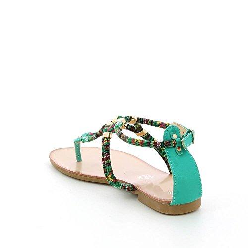 Go Moda - Sandalias planas à cuerda colorido - Mujer, Verde - verde, 41