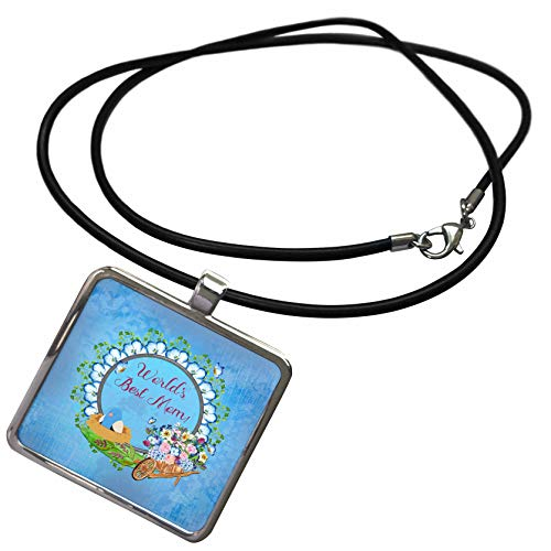 3dRose Beverly Turner Mothers Day Design - Worlds Best Mom, Red, Frame, Bird in Nest, Wheel Barrow, Flowers, Blue - Necklace with Rectangle Pendant (ncl_304895_1)