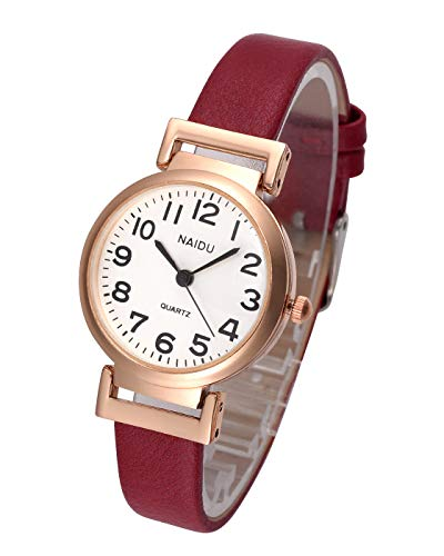 Top Plaza Womens Ladies Classic Simple Red Leather Analog Wrist Watch Rose Gold Case Arabic Numerals Casual Dress Quartz Watches