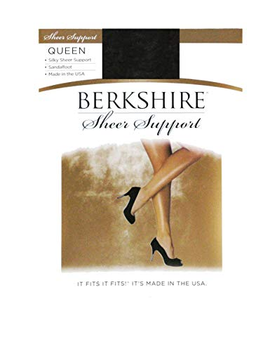 Berkshire Women's Plus-Size Queen Silky Sheer Support Pantyhose - Control Top Sandalfoot 4417, Fantasy Black, - Pantyhose Berkshire Stretch