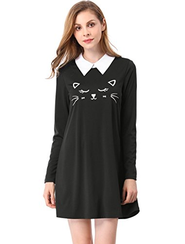 Allegra K Women's Cat Face Print Contrast Collar Flare Above Knee Dress XL Black (Black Cat Dress)