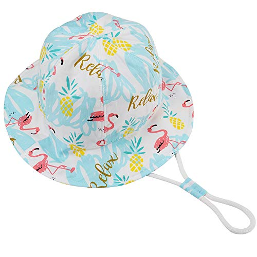 Baby Girl Sun Hat - Toddler Kids Girls Floppy Summer Sun Protection Play Beach Hat with Chin Strap(Flamingo, 50cm)