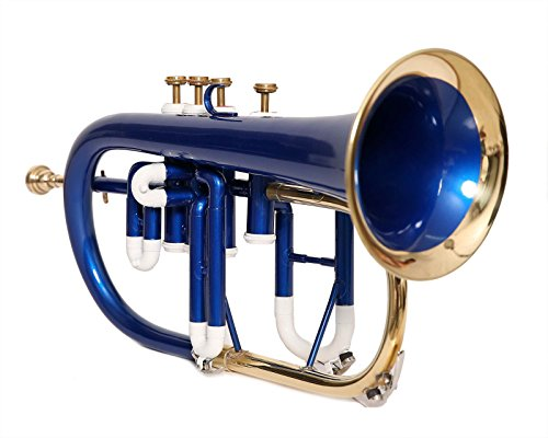 HANDMADE FLUGEL HORN 4 VALVE Bb PITCH WITH FREE HARD CASE AND MP, BLUE COLOR by SAI MUSICAL