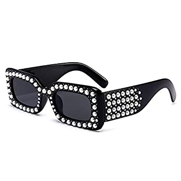 Burenqi Neue Mode Pearl Platz Sonnenbrille Frauen Jahrgang Brand Design Luxus Klein Sonnenbrillen für Weiblich Männlich Schattierungen, C