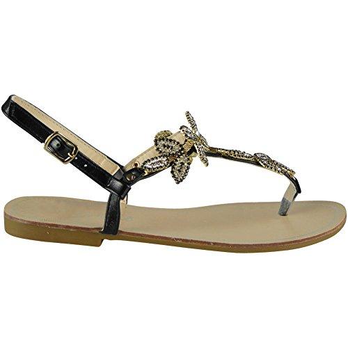 Womens Ladies Diamante Toe-Post Flat Bling Summer Peeptoe Sandals Shoes Sizes 3-8 Black BrpT7Me