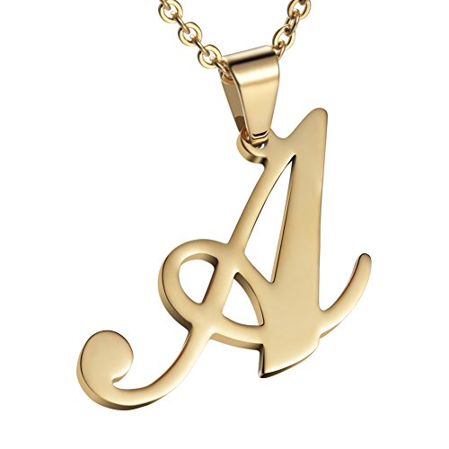 Besteel Womens  Stainless Steel Alphabet Initial Letters Pendant Necklace From A-Z