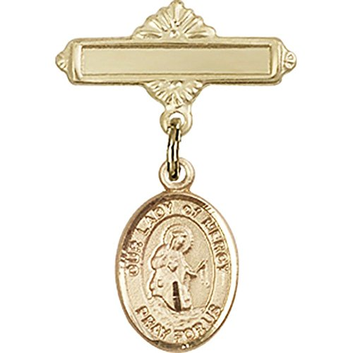 Gold Filled Baby Badge with Our Lady of Mercy Charm and Polished Badge Pin 1 X 5/8 inches by Unknown