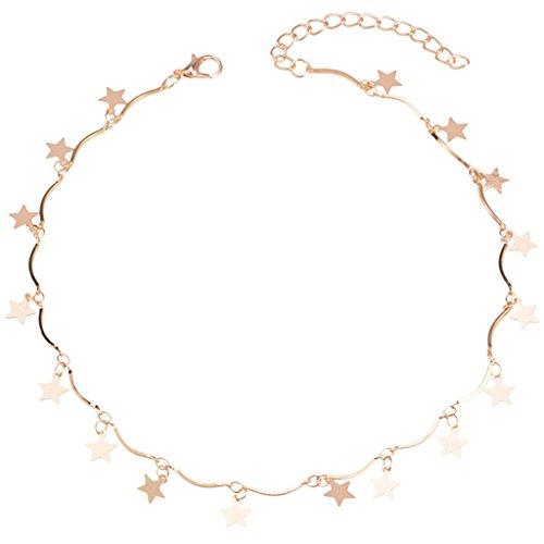 (Joan Nunu Chain Choker Necklace Women Grils Lucky Star Pendant Necklace Handmade Jewelry)