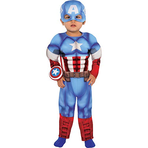 (Suit Yourself Captain America Muscle Costume for Babies, Size 12-24 Months, Includes a Padded Jumpsuit, a Hat, and)