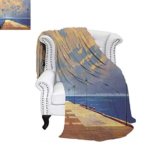 Lightweight Blanket Watercolored Wooden Bridge Pier to The Sea Harbor Bay Coast Cloudy Day with Gull Custom Design Cozy Flannel Blanket 50