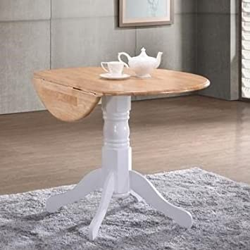 Rhode Island Round Drop Leaf 4 Seater Dining Table White/Natural