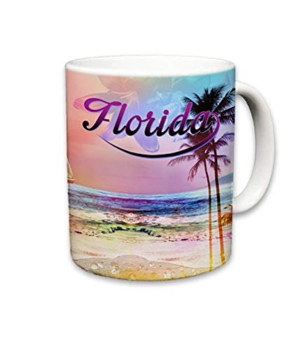 Sweet Gisele | Tropical Florida Beach Mug | Ceramic Coffee Cup Souvenir | Colorful Floral Design | Shoreline View Mugs | Beautiful Palm Tree Accents | Great Novelty Gift | 11 Fl. Oz (Multicolored)
