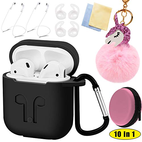 Apple Airpods Case 2 & 1 Cover Accessories Kits 10 in 1 - Protective Silicone Case Cover, Anti-lost Carabiner, Magnetic Strap, Unicorn Keychain, Wireless Earbuds Hooks, Storage Box, Lens cloth (Black)