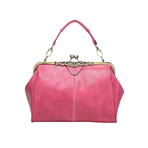 Feixiang Messenger A Tracolla Donna Tote Mano Shoulder Elegante Retrò Borse Bag Totes Borsa Crossbody Rosa r8F4frn