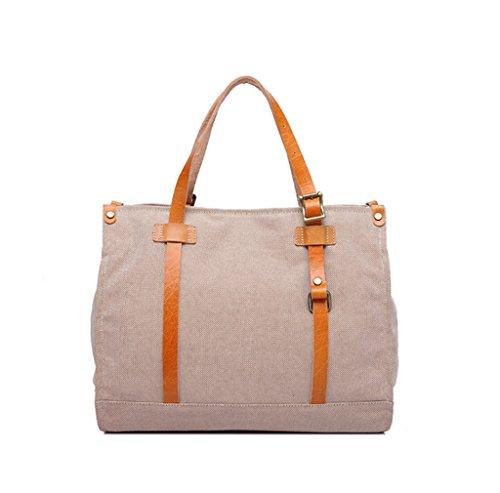 Sucastle Casual bag retro bag canvas bag handbag shoulder bag Messenger bag Sucastle Colour:Light Brown Size:39x31x13cm