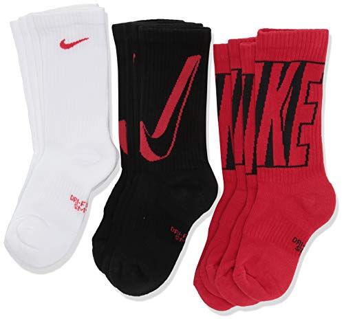Nike Kids' Performance Cushioned Crew Training Socks (6 Pair), Girls & Boys' Socks with Cushioned Comfort & Dri-FIT Technology, Multi - Color, M (Nike Socks Boys Black)