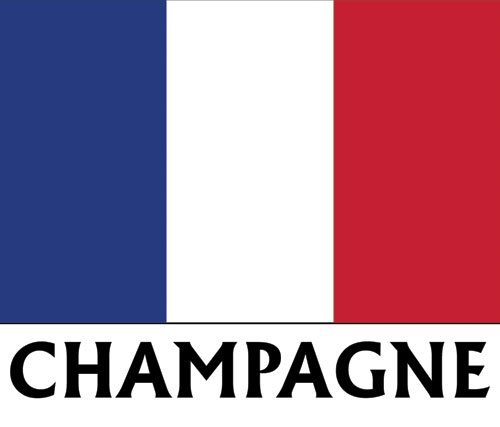 American Vinyl Flag of Champagne France Sticker (French Drapeau City)