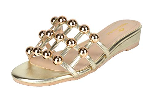 DREAM PAIRS Women's Formosa_5 Gold Low Platform Wedges Slides Sandals Size 9 B(M) US