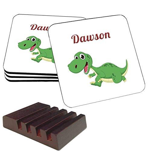 Dawson (Dinosaur) - Four Drink Coasters & Mahogany Storage Holder (3.75