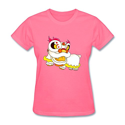 Tangry Women's Cute Lion Dancer Design Cotton Short Sleeve T Shirt
