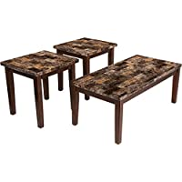 Contemporary Stylish 3 Piece Occasional Faux Marble Top Living Room Table Set with Brown Finish