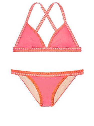 Victoria's Secret Swim The Crochet-trim Teeny Triangle Top L Crochet-trim Cheeky L Neon Hot Pink