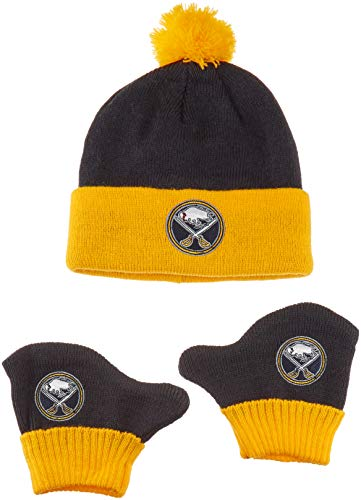 OTS NHL Buffalo Sabres Pow Knit Cap & Mittens Set, Navy, Infant