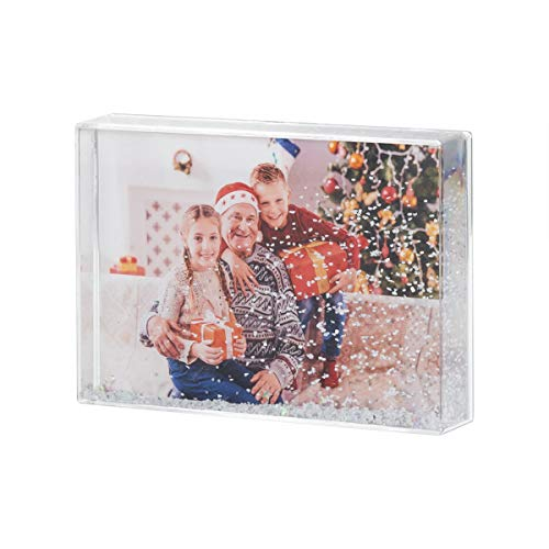 NIUBEE 4x6 Glitter Liquid Photo Frame for Christmas, Clear Plastic Acrylic Floating Sparkle Water Picture Frame (Snow) (Christmas Frame Personalized)