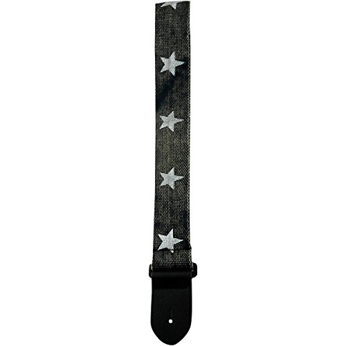 "Perri's 2.5"" Cotton Guitar Strap with Leather Ends Printed S"