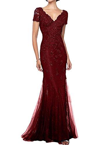 Prom Fest Damen Dress onirico rosso ivyd Scollo Da ressing a ballo V da abito Abito Pizzo Sera vivo vestito Maniche awwfPqpx
