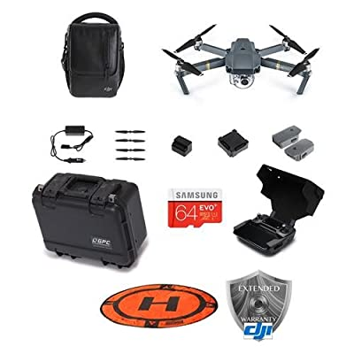DJI Mavic Pro - Fly More Combo - Bundle with 64GB MicroSDHC Card, Hoodman HDLP3 3' Drone Launch Pad, DJI Remote Controller Monitor Hood, Go Professional Mavic Pro Hard Case, DJI Care Refresh Warranty