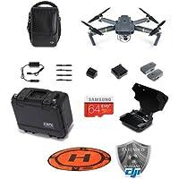 DJI Mavic Pro - Fly More Combo - Bundle with 64GB MicroSDHC Card, Hoodman HDLP3 3 Drone Launch Pad, DJI Remote Controller Monitor Hood, Go Professional Mavic Pro Hard Case, DJI Care Refresh Warranty