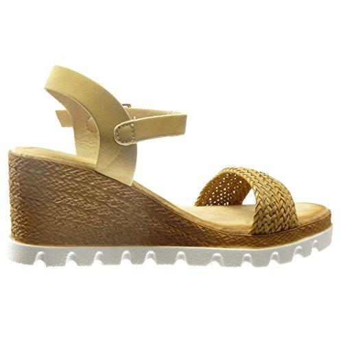 Angkorly - damen Schuhe Sandalen Espadrilles - Plateauschuhe - Offen - Seil Keilabsatz high heel 7 CM - Beige