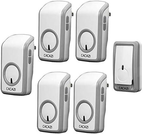 ウォールプラグインコードレスドアチャイム、ポータブルウォータープルーフ電気ドアベルキット、1148フィートの範囲で48トーン6ボリュームレベル1プッシュボタンと5レシーバー