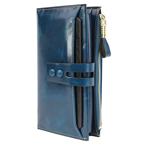 Womens Big Wallet Large Capacity Geniune Leather RFID Blocking Clutch Purse (4-Blue Womens Big Wallet)