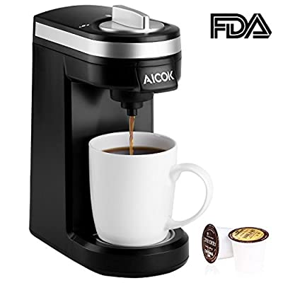 Aicok Single Serve Coffee Maker, Single Cup Coffee Brewer with Removable Cover for Most Single Cup Pods including K-CUP pods, Quick Brew Technology, 800W, Black