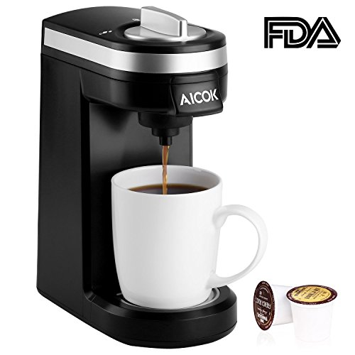 2 Warmer Auto Brewer - Aicok Single Serve Coffee Maker, Coffee Machine with 12OZ Water Tank, for Most Single Cup Pods including K-Cup Pods, Quick Brew Technology Travel One Cup Coffee Brewer