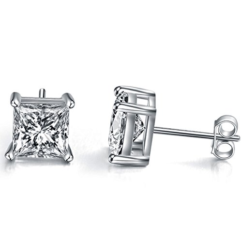 Earrings Square Rounded - Sephla Gold Plated 925 Sterling Silver 4 Prong 7mm Square Shape Cubic Zirconia Stud Earring (5mm White Gold Plated Silver)