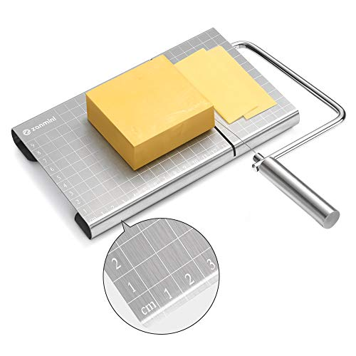 (zanmini Cheese Slicer, Stainless Steel Cheese Cutter with Accurate Size Scale, Wire Cheese Slicer for Cheese Butter, Equipped with 4 Replaceable Cheese Slicer Wires)