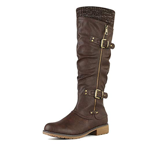 DREAM PAIRS Women's Depp Brown Knee High Boots Size 9.5 B(M) US